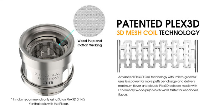 Innokin nous propose son nouveau Vap Pen avec le kit Plexar Vape. Il intègre la technologie Plex3D, mais l'inconvénient est des résistances propriétaires.
