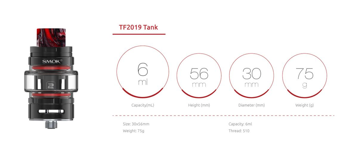 Pour cette année 2019, Smok récidive en proposant une variante de son TF12. Le kit inclut la Smok Morph 219 accompagné de son tank Smok TF2019.