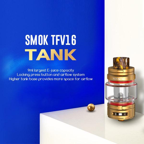 We were waiting for the next Smok Tank and he is now there with the SMOK TFV16. A capacity of 9 ml and Mesh galore.