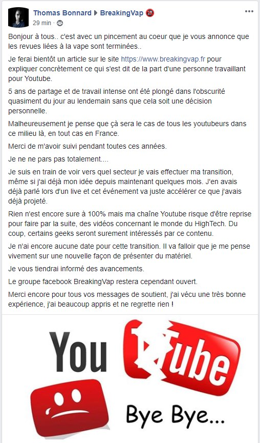 BreakingVap, one of the biggest Youtube french channels on vaping, closes overnight. The end of vaping on Youtube?