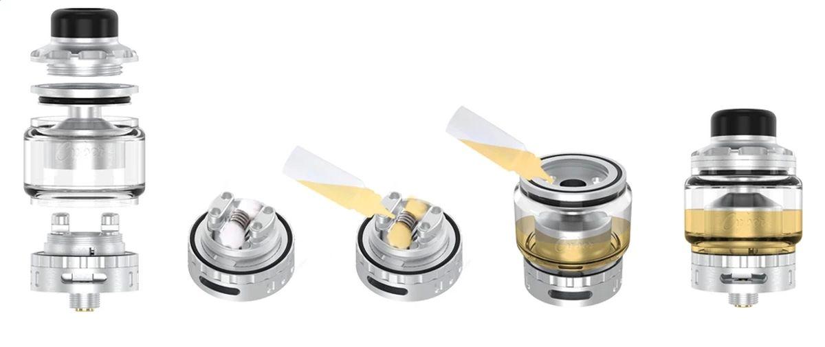 Le RTA Cyber de Gas Mods nous propose un atomiseur en single coil tout ce qu'il y a de plus standard sauf sur la manière de configurer les airflows.